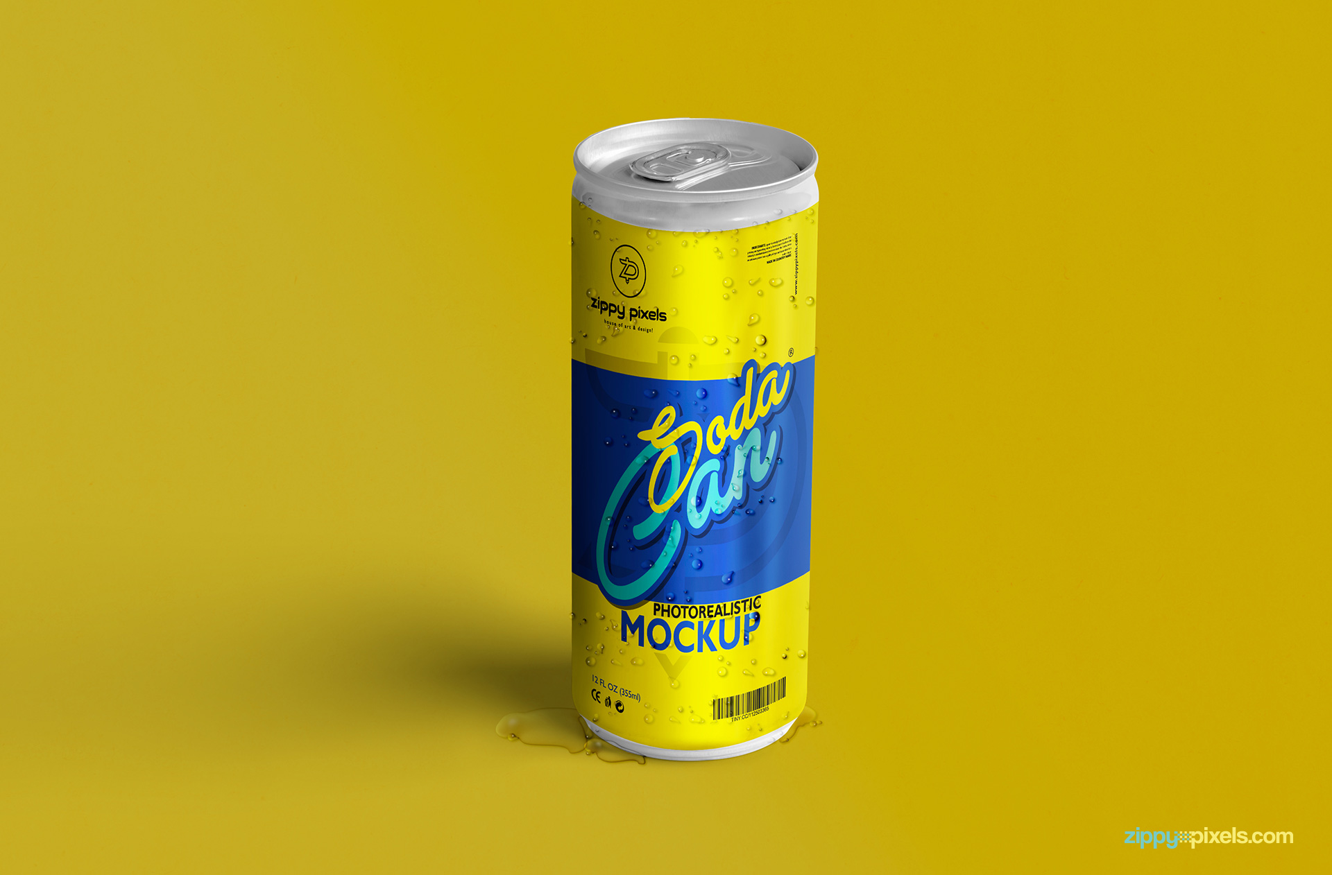 free soda can mockup psd with customizable design