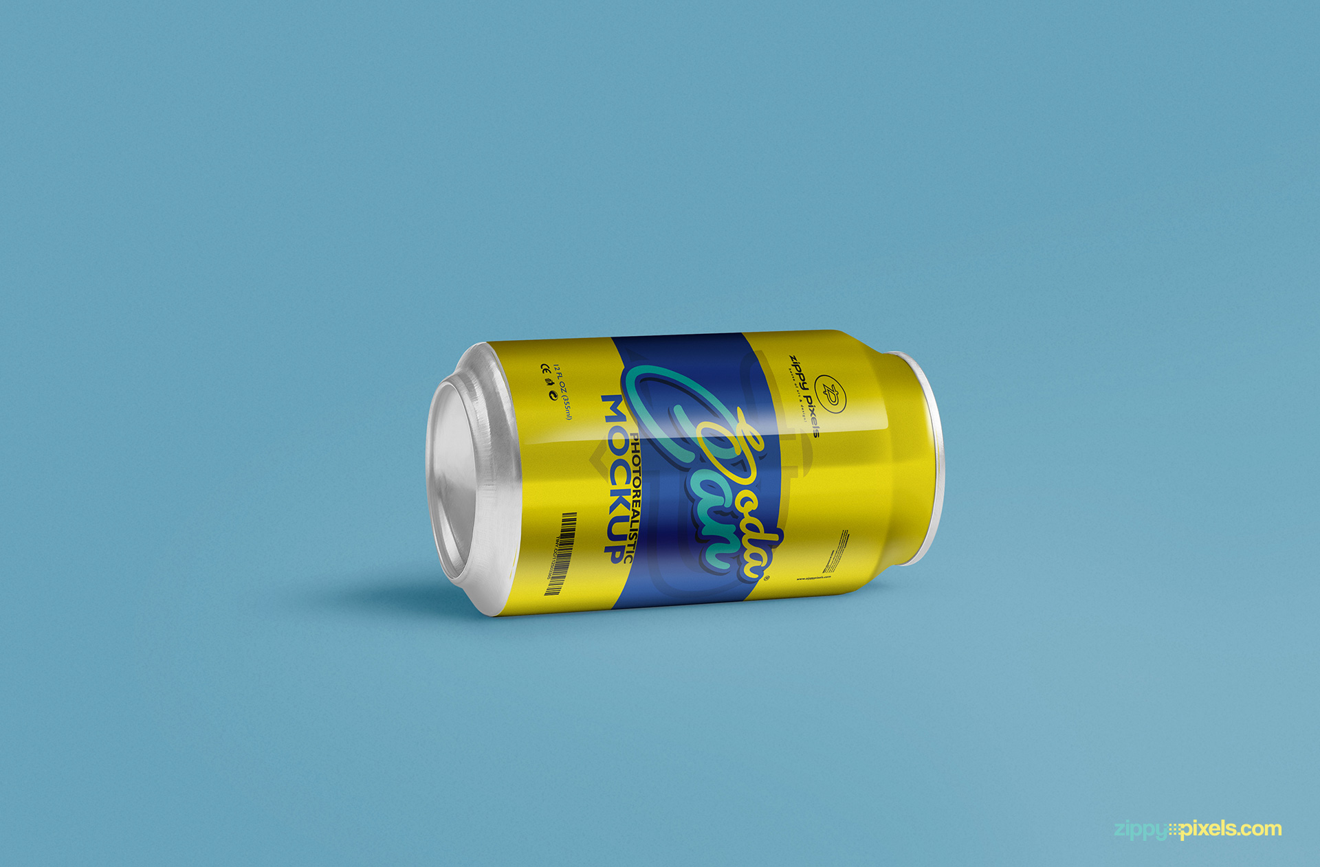 free soft drink can mockup psd in horizontal view