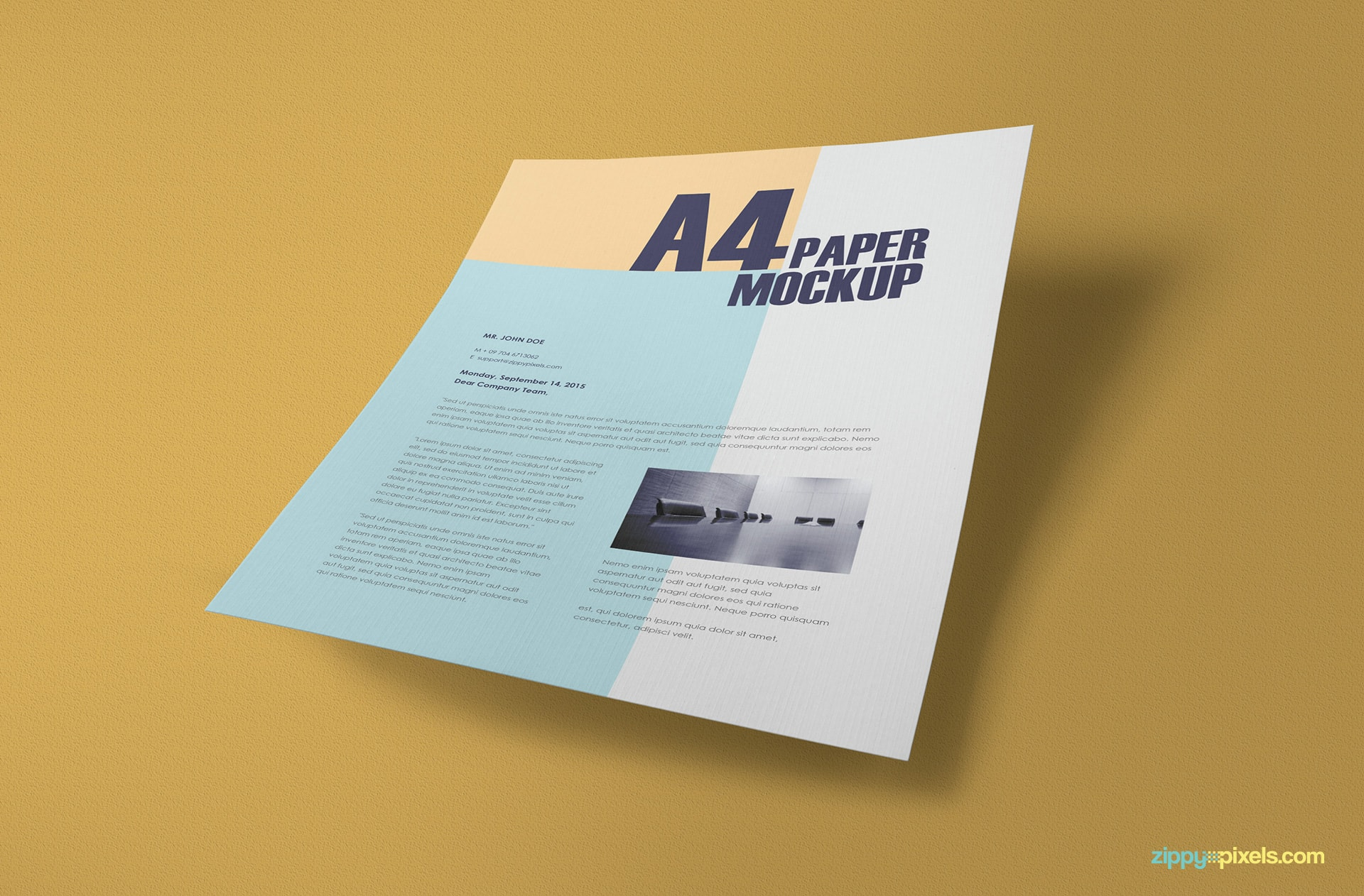 free hi-res a4 paper mock-up for photoshop