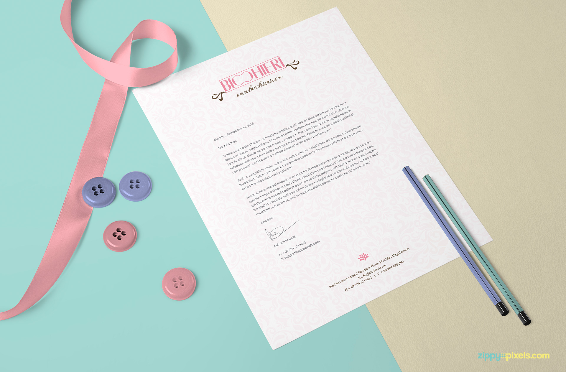 free US letter size paper mock-up to present your stationery designs