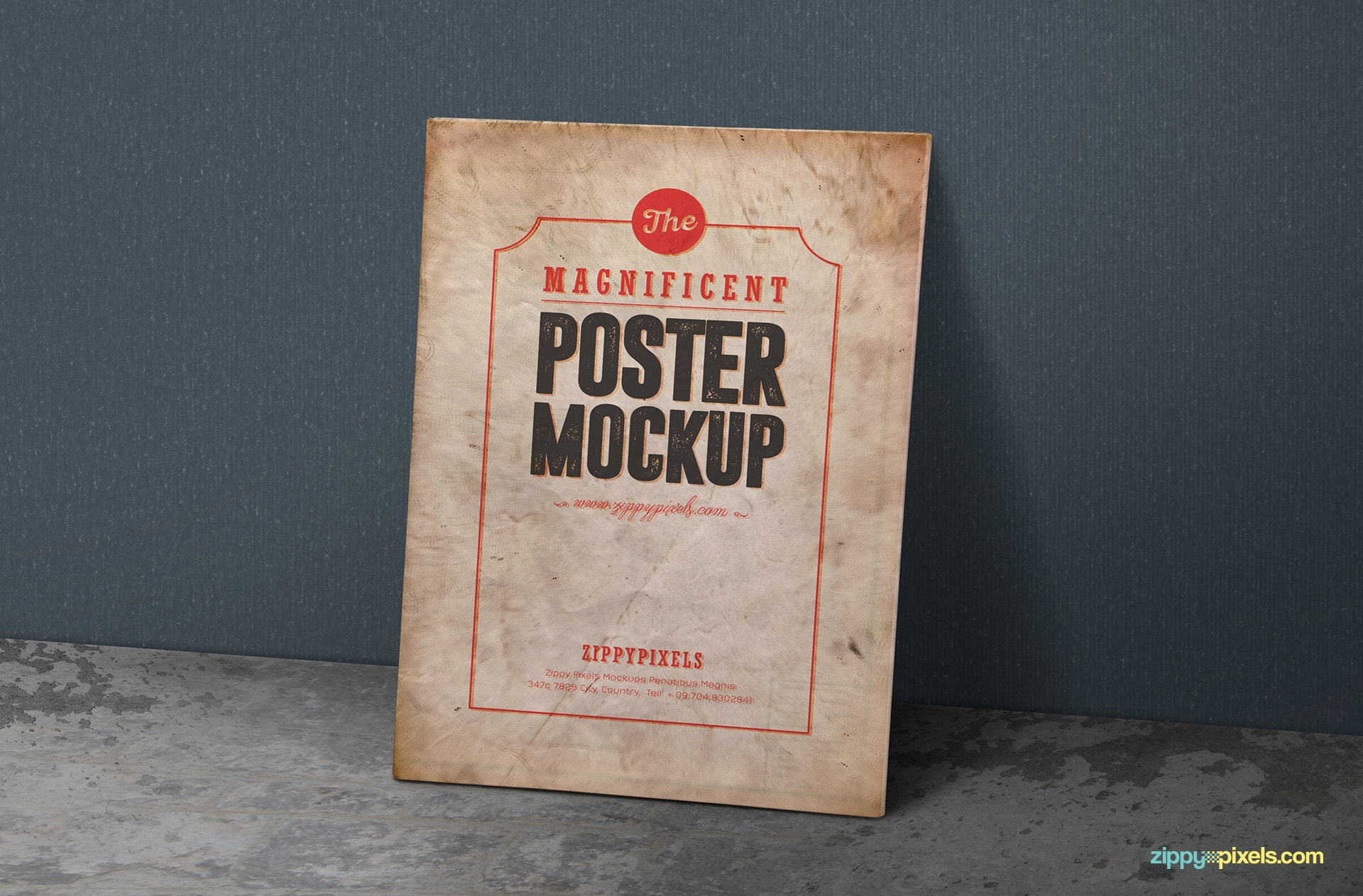 free poster mockup in vintage style
