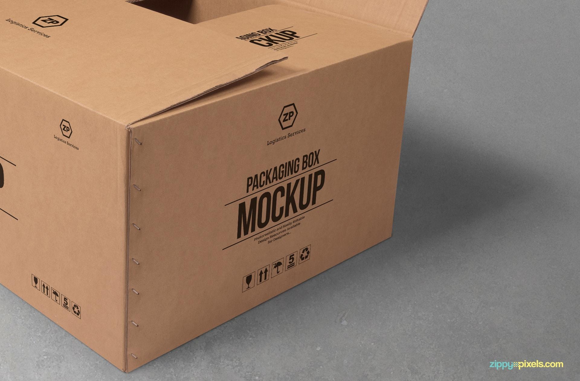 free box mockup with customizable logo designs