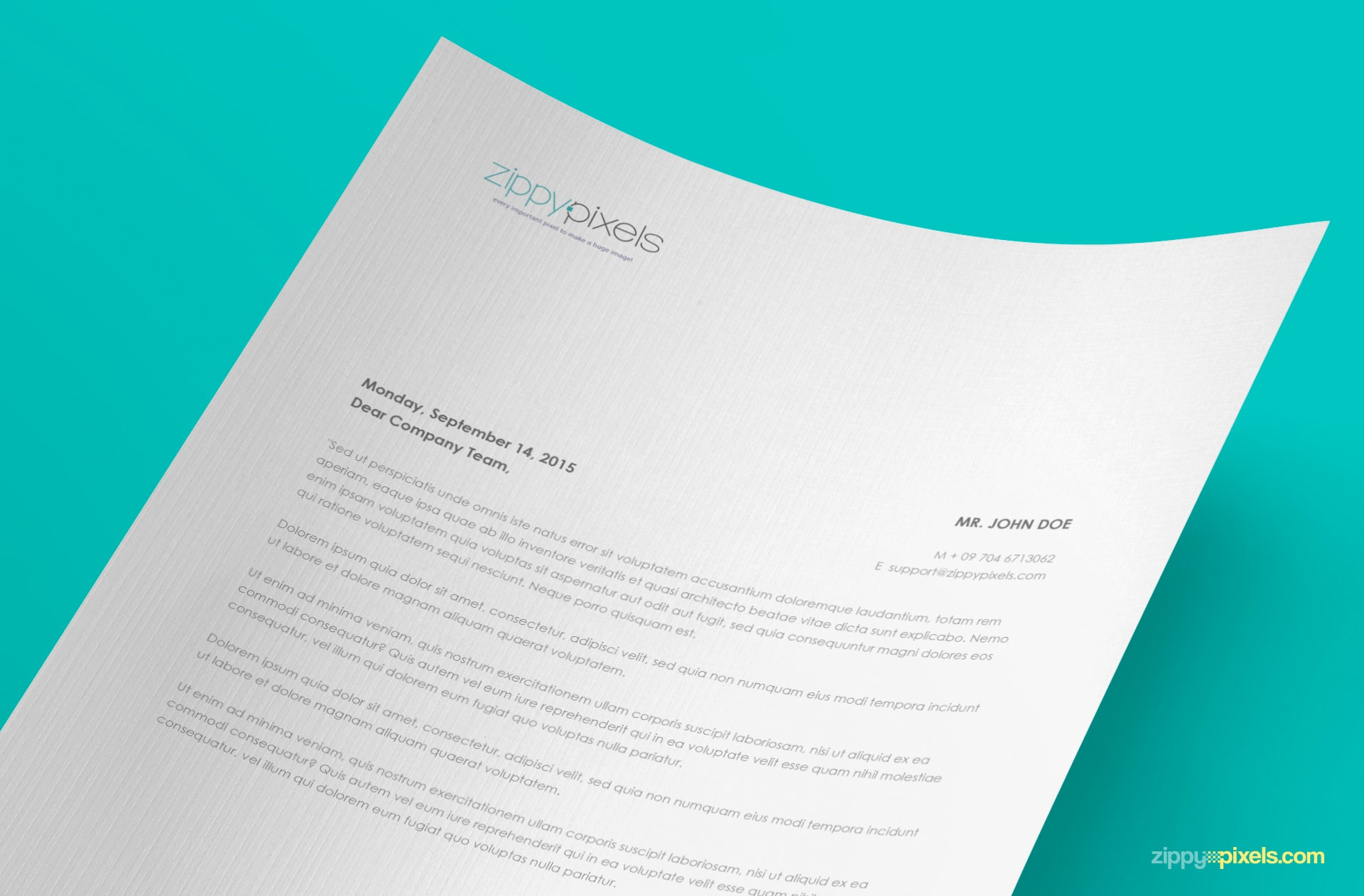 free a4 paper mock-up in curved view