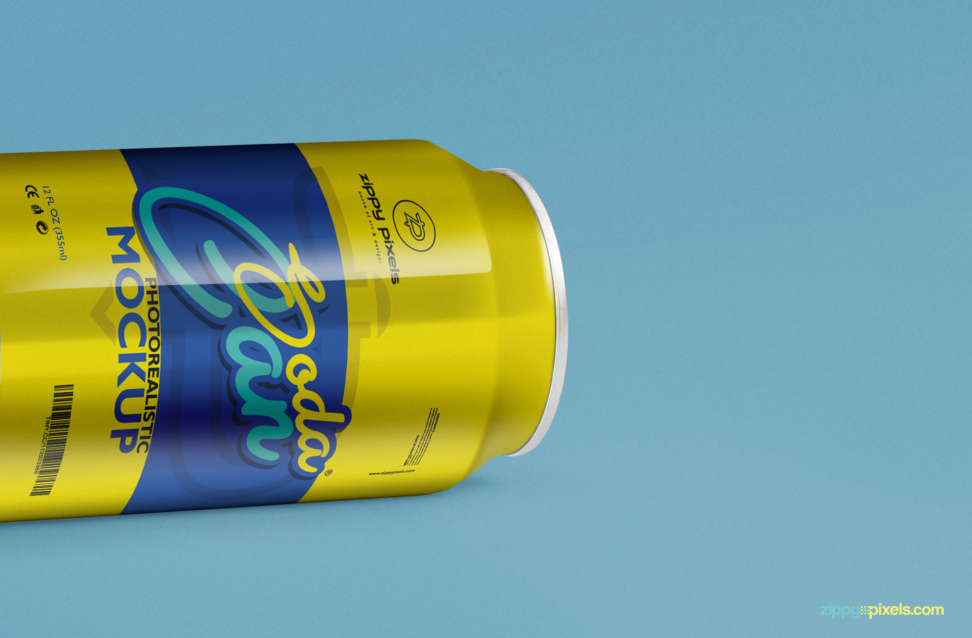 free soft drink can psd mockup for packaging and labeling designs