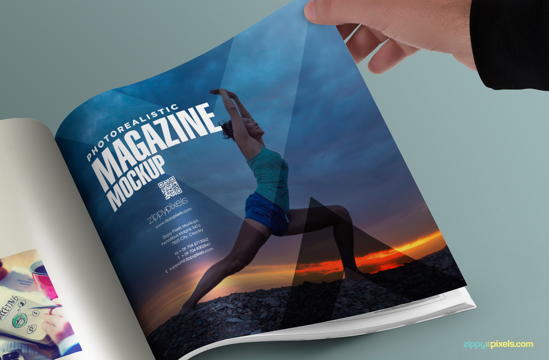 customizable square page magazine mockup
