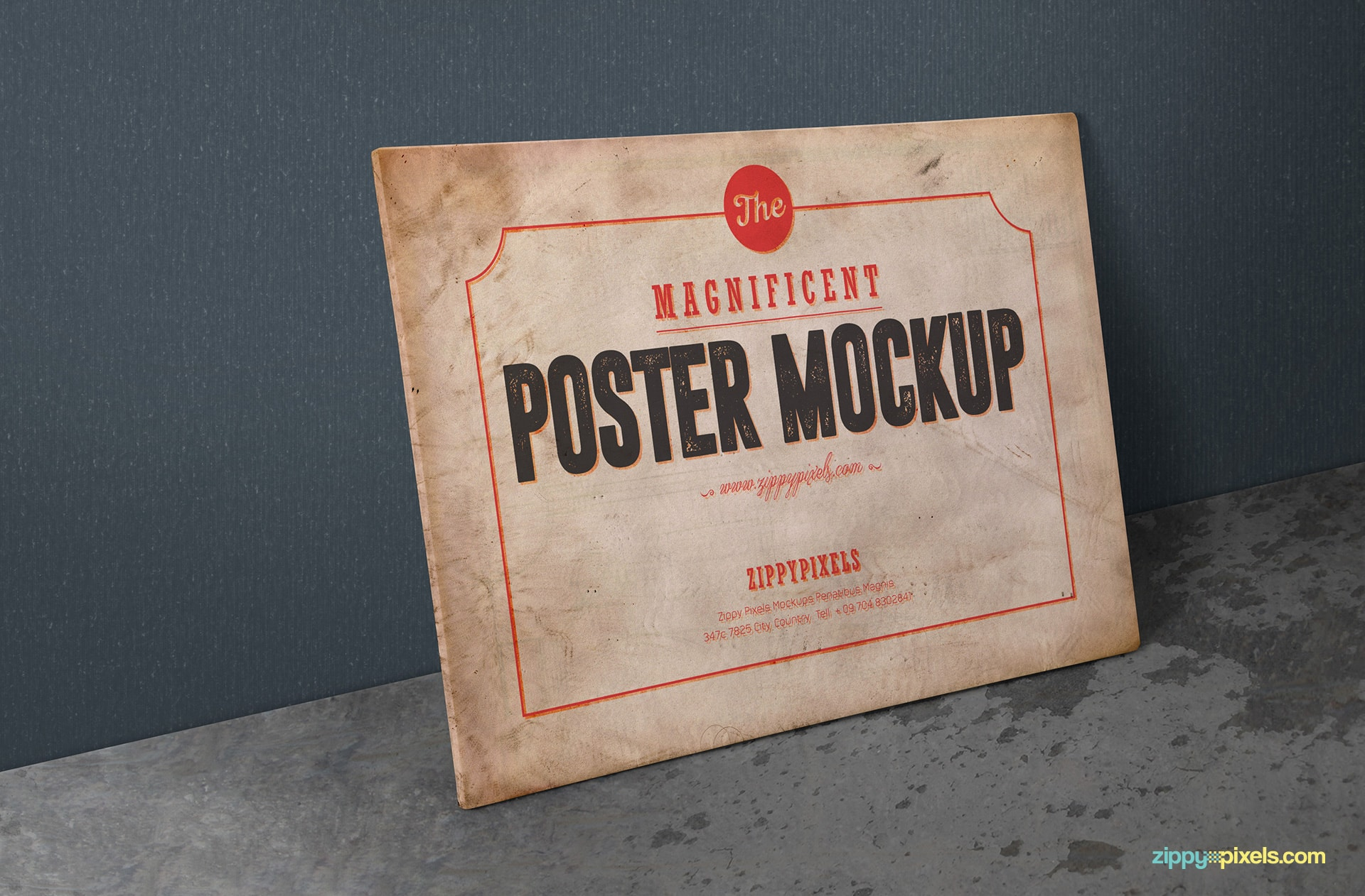 PSD poster mockup in landscape view