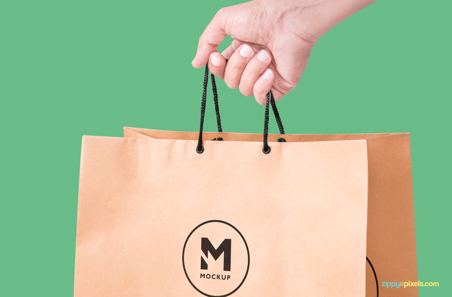 free handheld paper bag mock-up