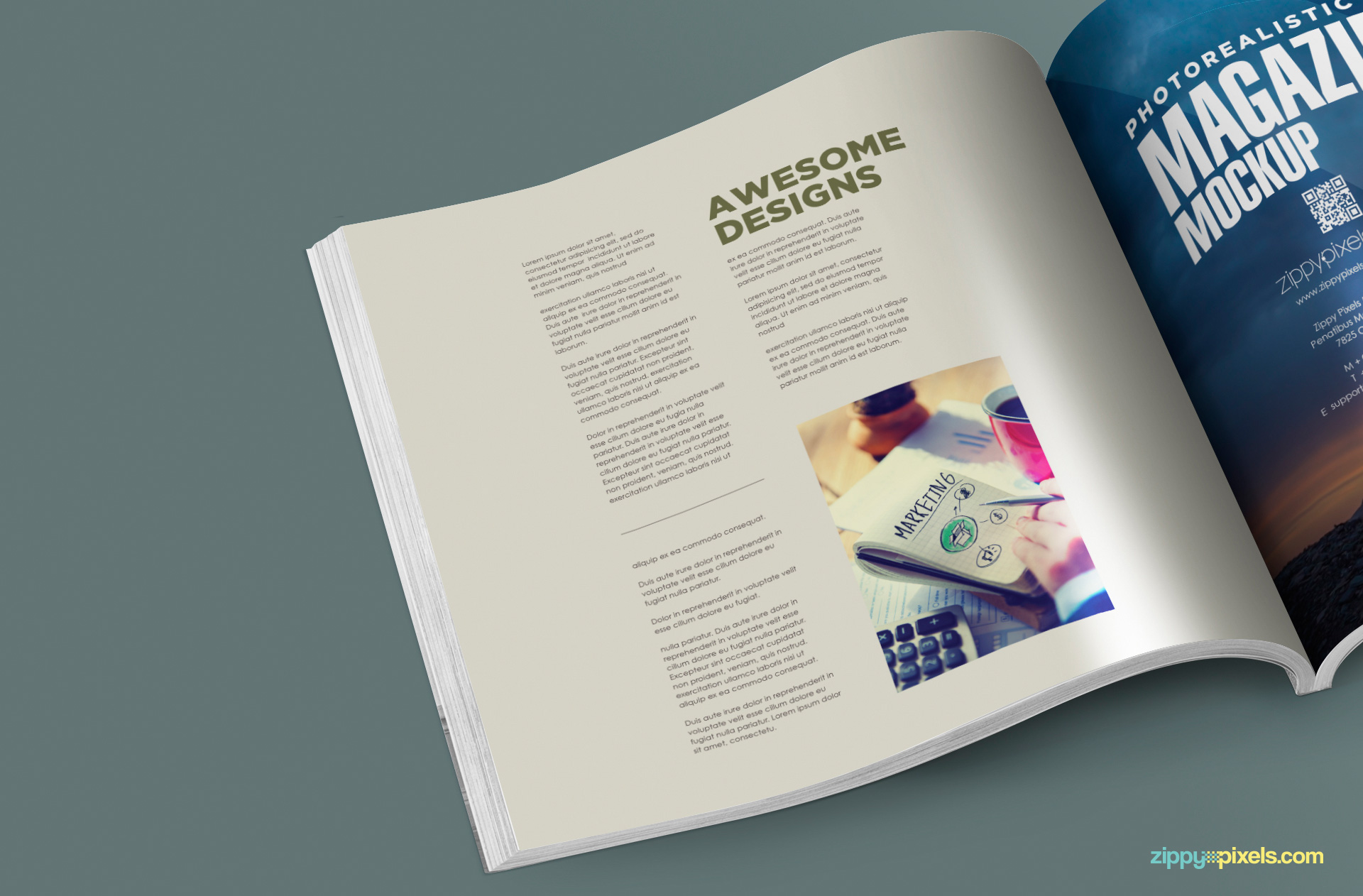 free psd magazine mockup with customizable inner page design