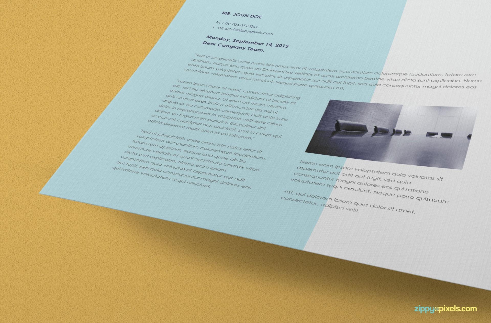 free a4 letterhead mockup in psd format