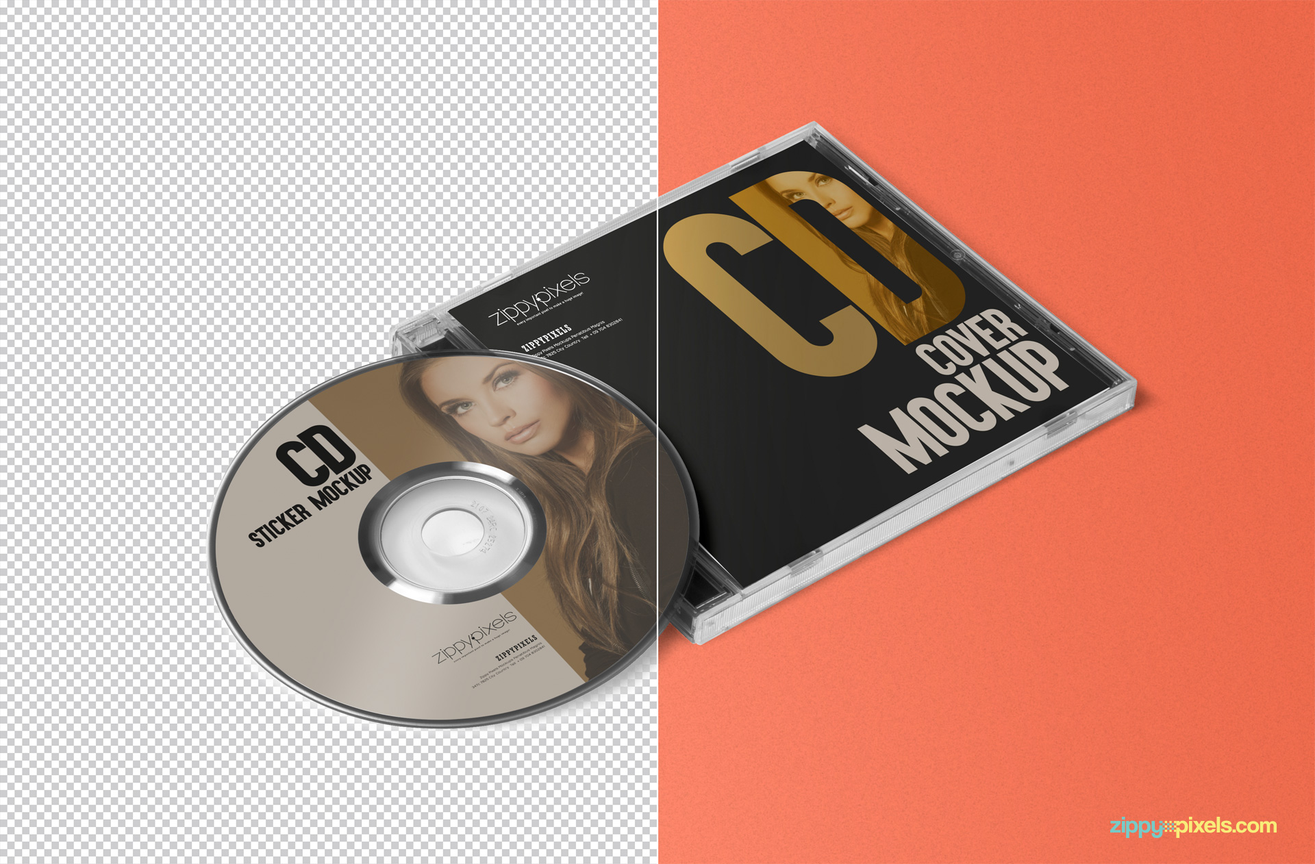 free CD + cover PSD mock-up for Adobe Photoshop