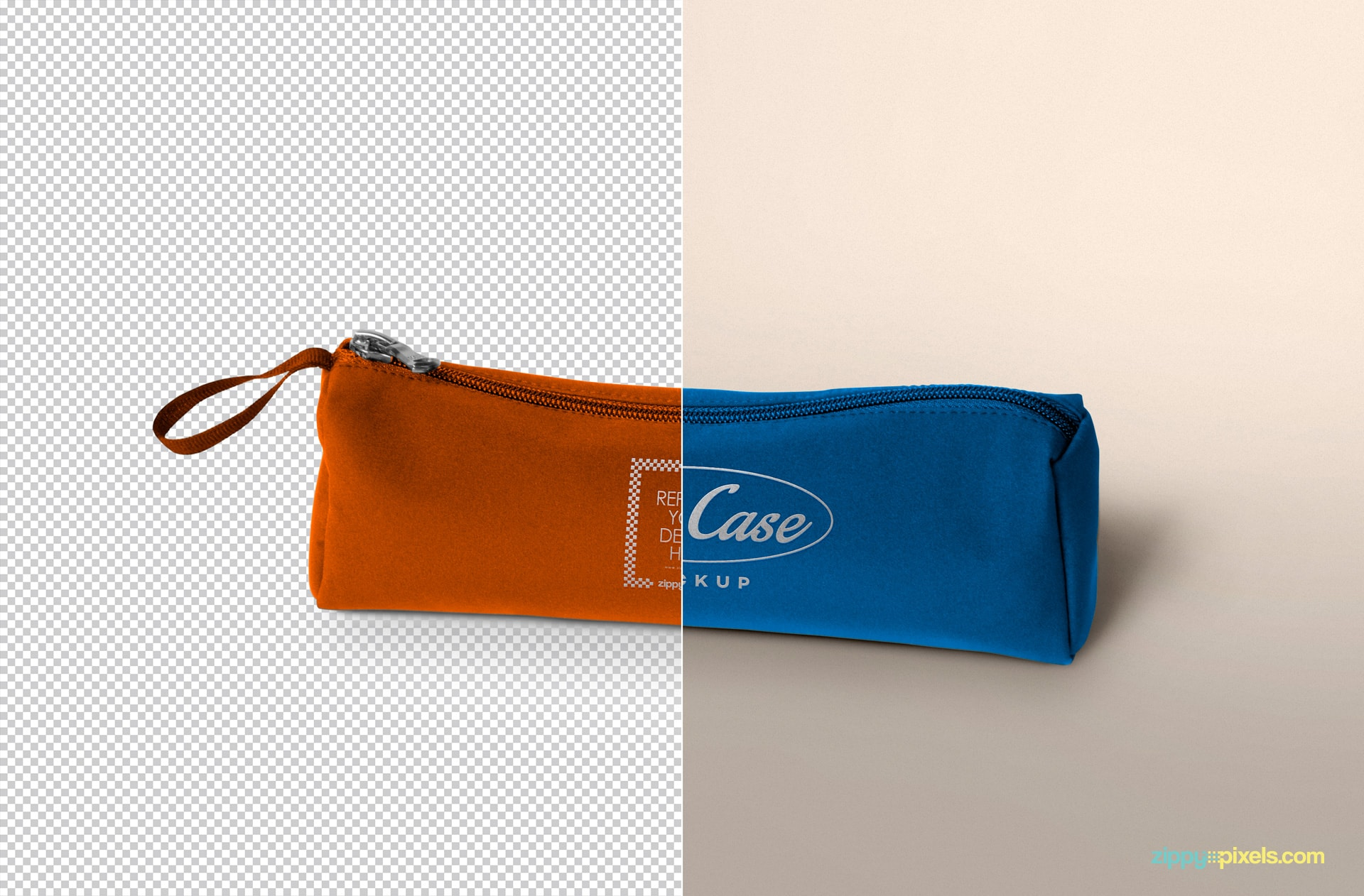 free realistic pencil case mock-up for presentation designs