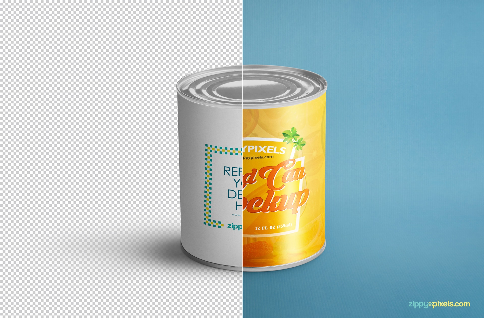smart object based food can psd mockup