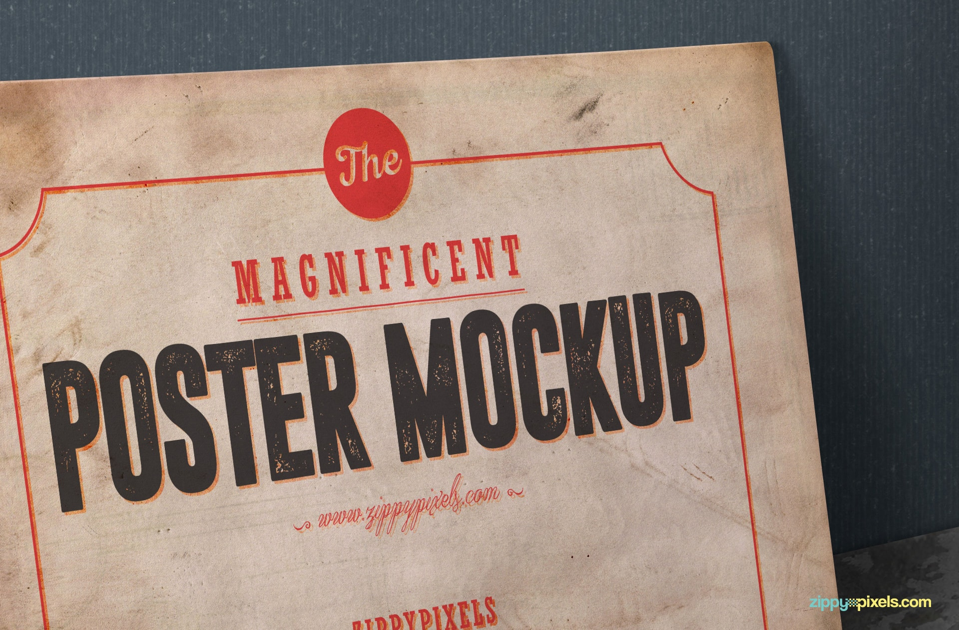 free poster PSD mockup with customizable design