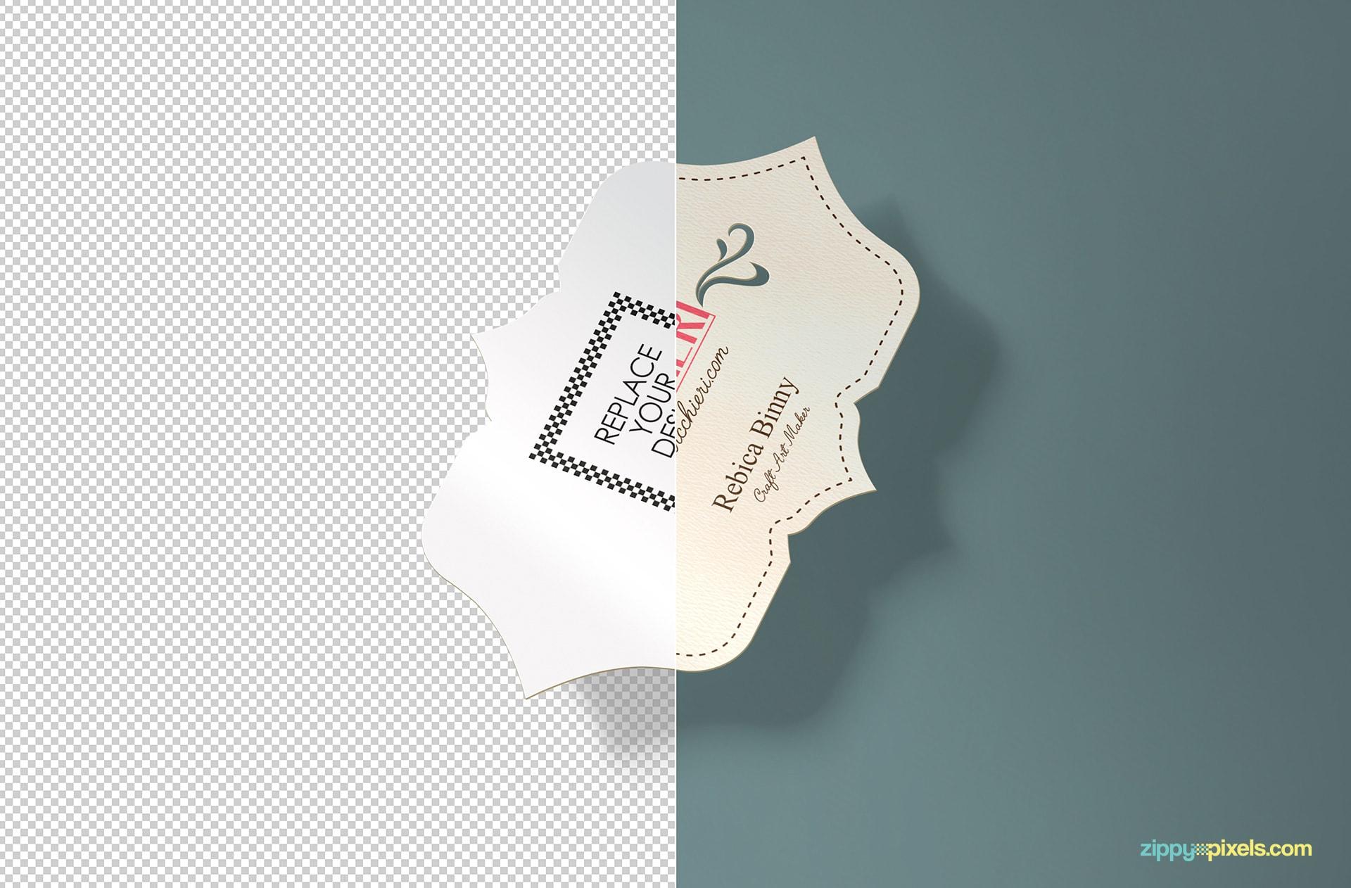 free inner cut business card mockup