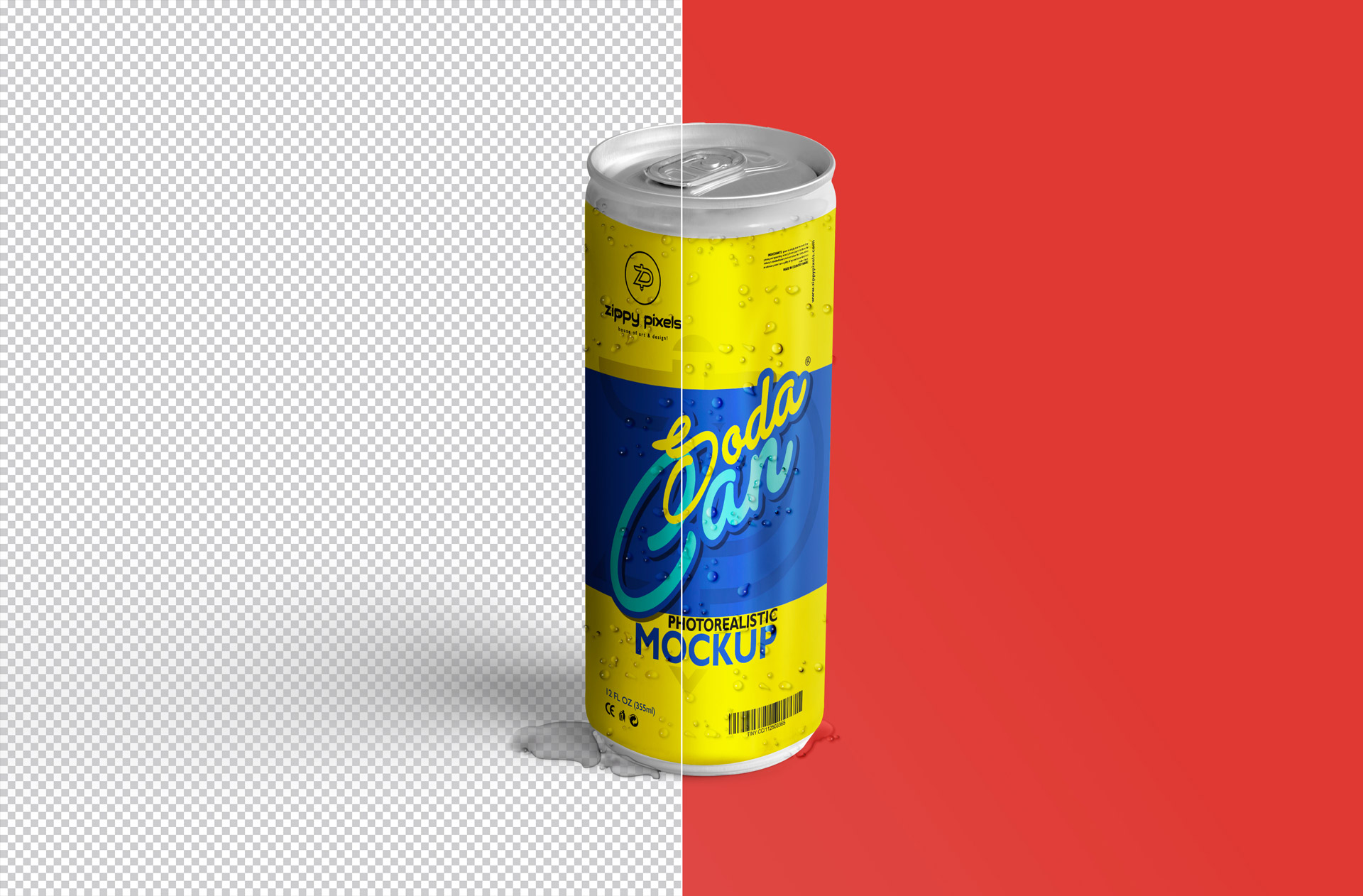 free soda can psd with editable background and lighting
