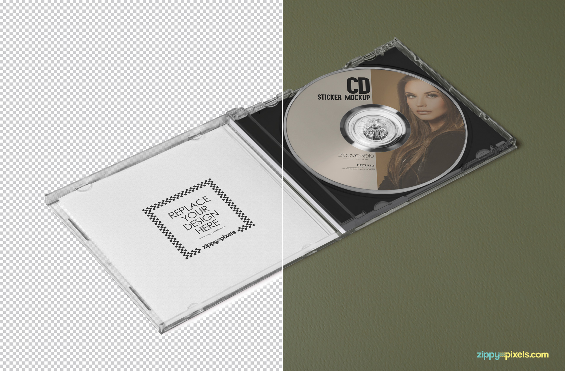 free cd cover & cd label photoshop mockup