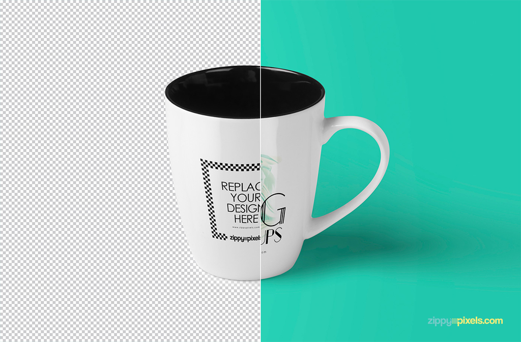 free PSD cup mockup with smart object based design replacement