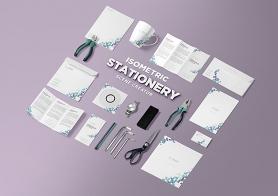 Free Isometric Stationery PSD Scene Creator