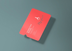 Free Creative Business Card Mockup With Smart Object Based Die Cut & Inner Cut Style