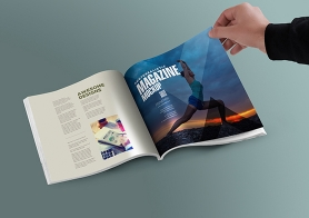 Free Square PSD Magazine Mockup With Customizable Inner Page Design