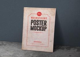 Free Magnificent Vintage Poster Mockup PSDs