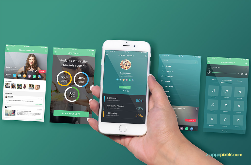 free iphone 6s perspective screen mockup for app designs