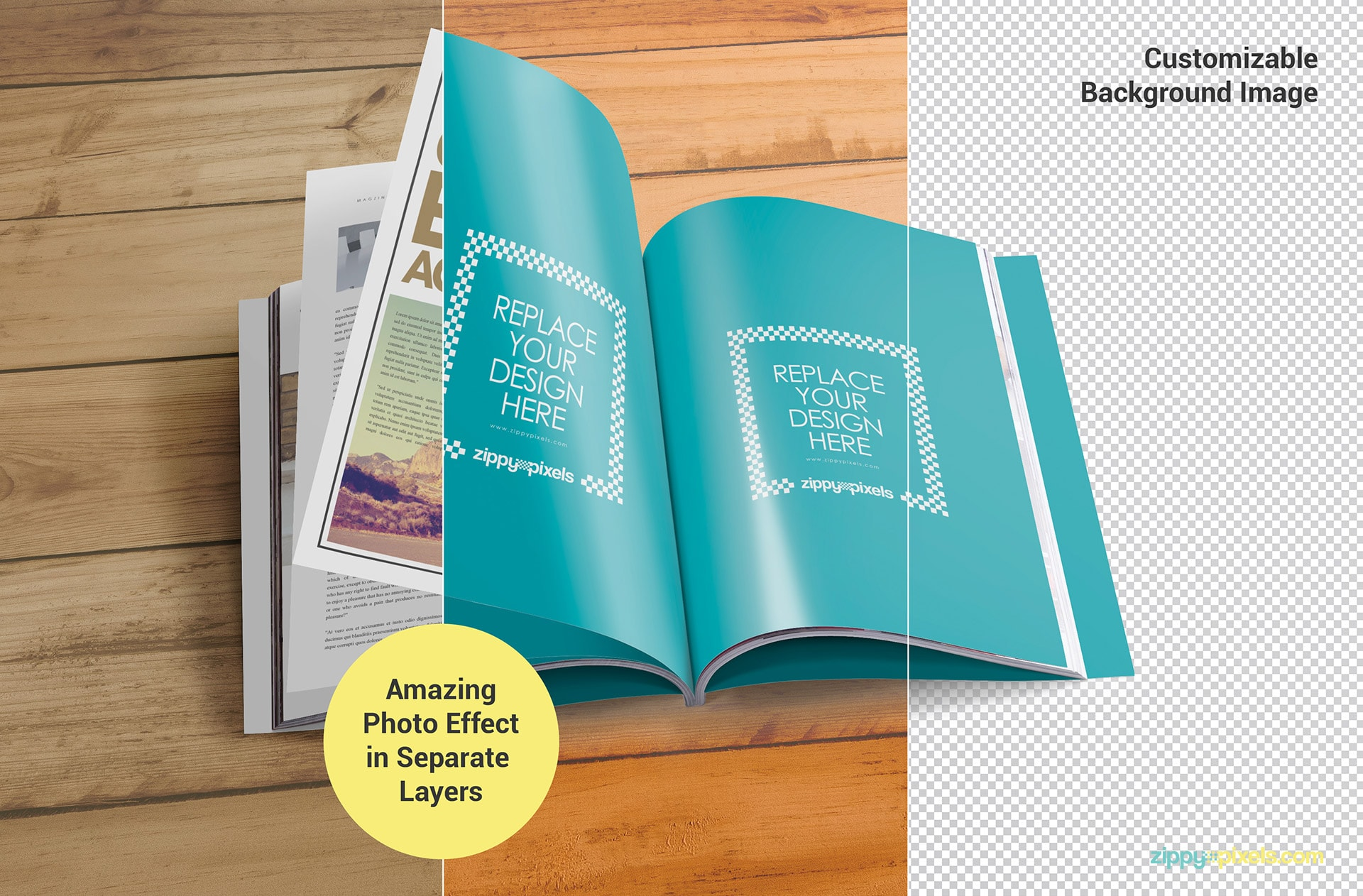 psd magazine cover mock-ups with customizable features