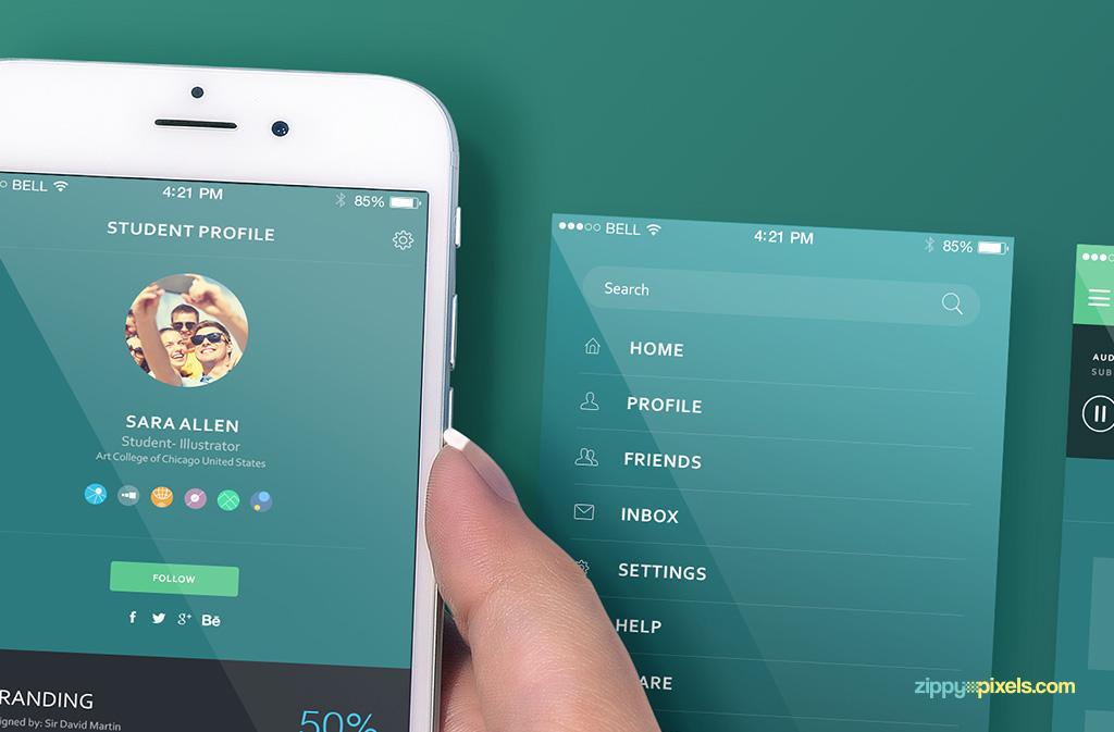 free iphone 6s screen mock-ups with customizable design