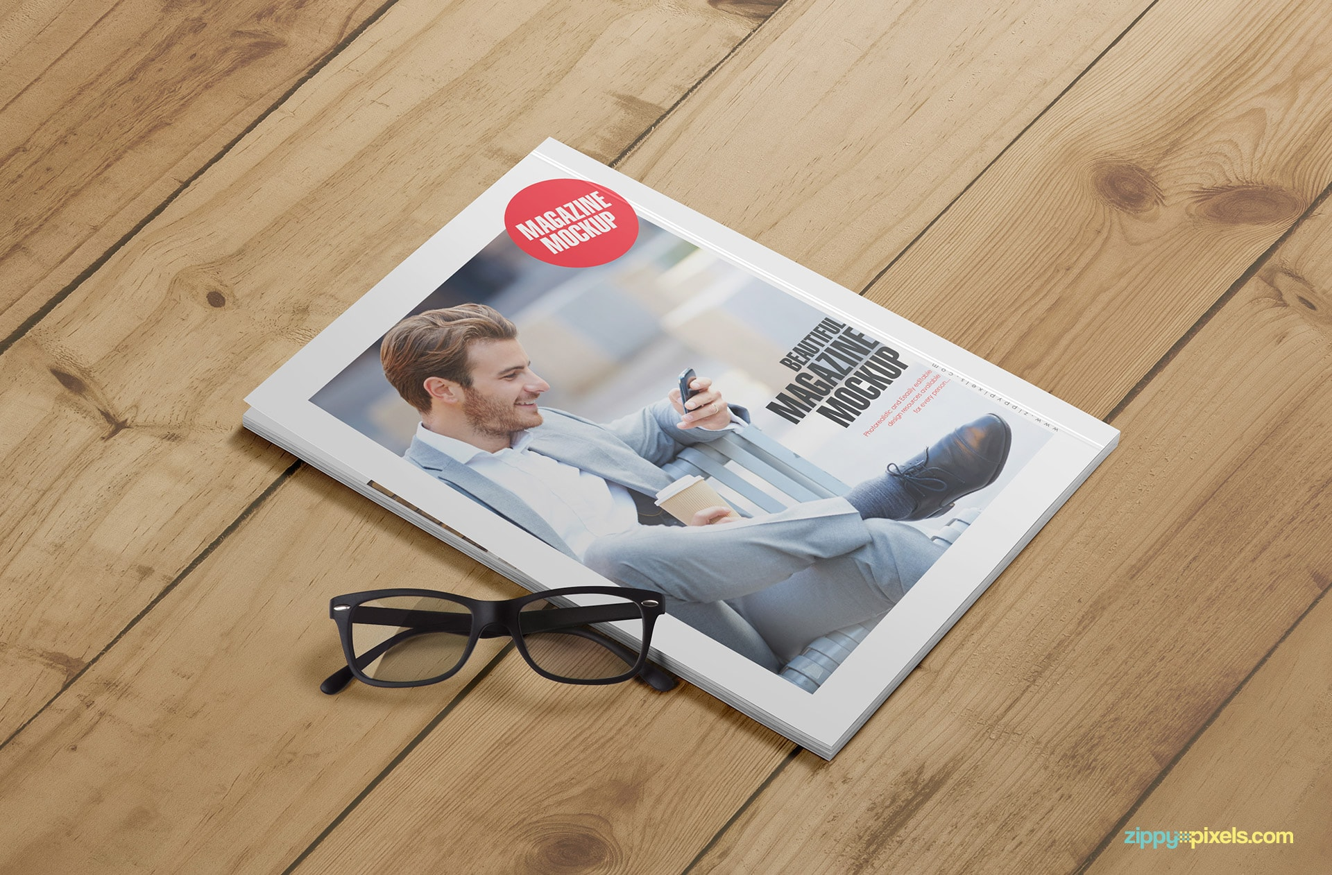 magazine front cover and open page mockups