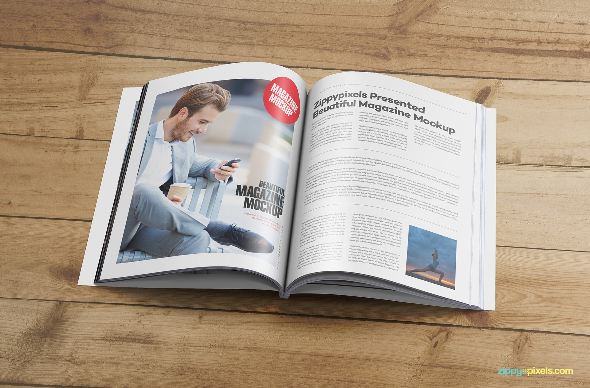 magazine page layout mockup