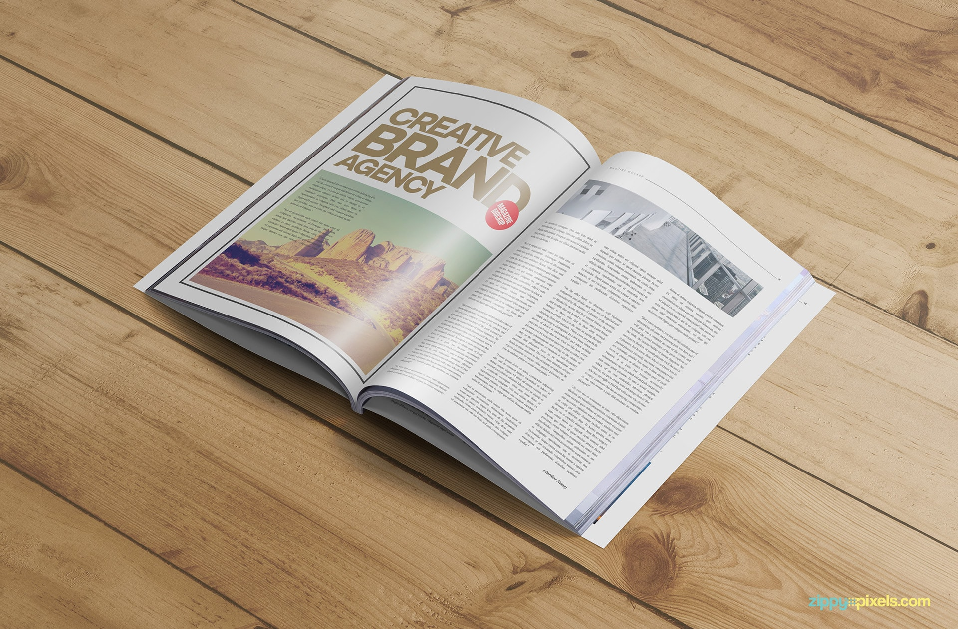 magazine mokcup with editable cover design
