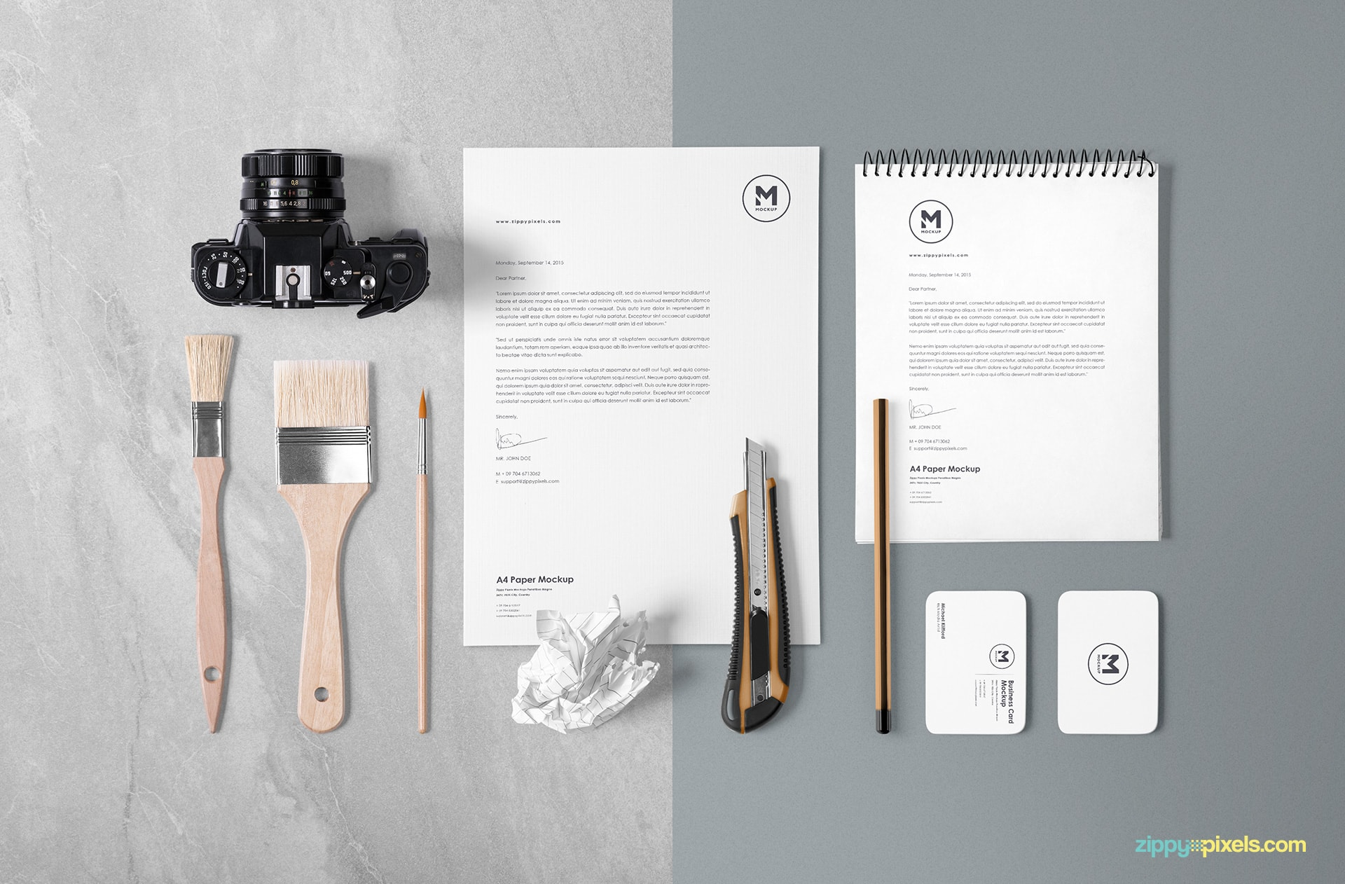 mockup-scene-paper-diary-camera-business-card