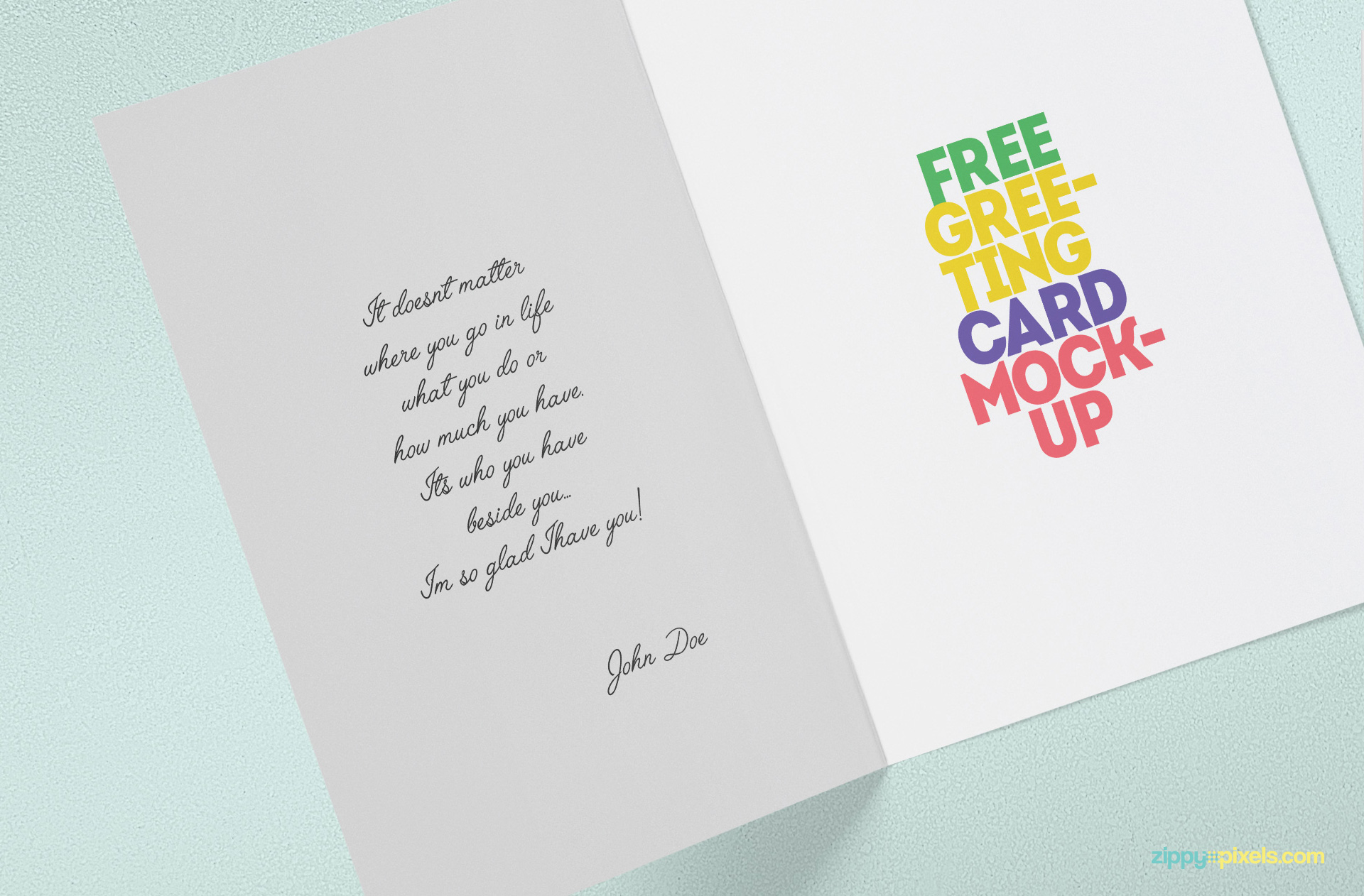 Smart Object Based Free Greeting Card Mock Up. Present Your Greeting Card  Designs And More