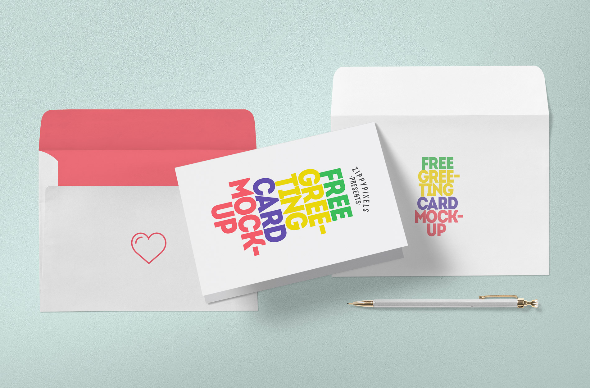 ... Free Greeting Card Envelope Front Back Mockup 04