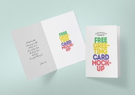 Free Greeting Card Mockup With Easy To Modify Design