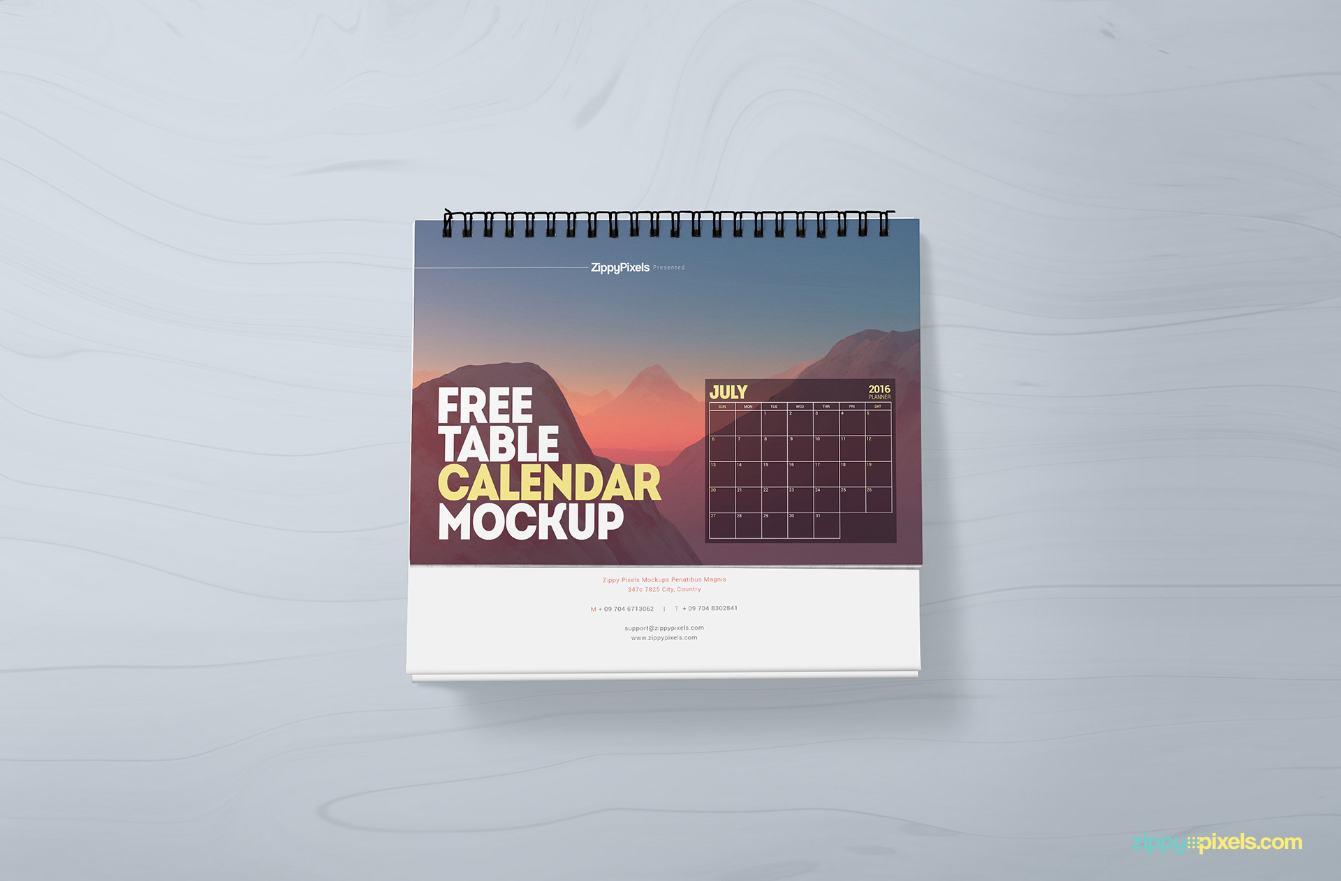 Free customizable table calendar mockup