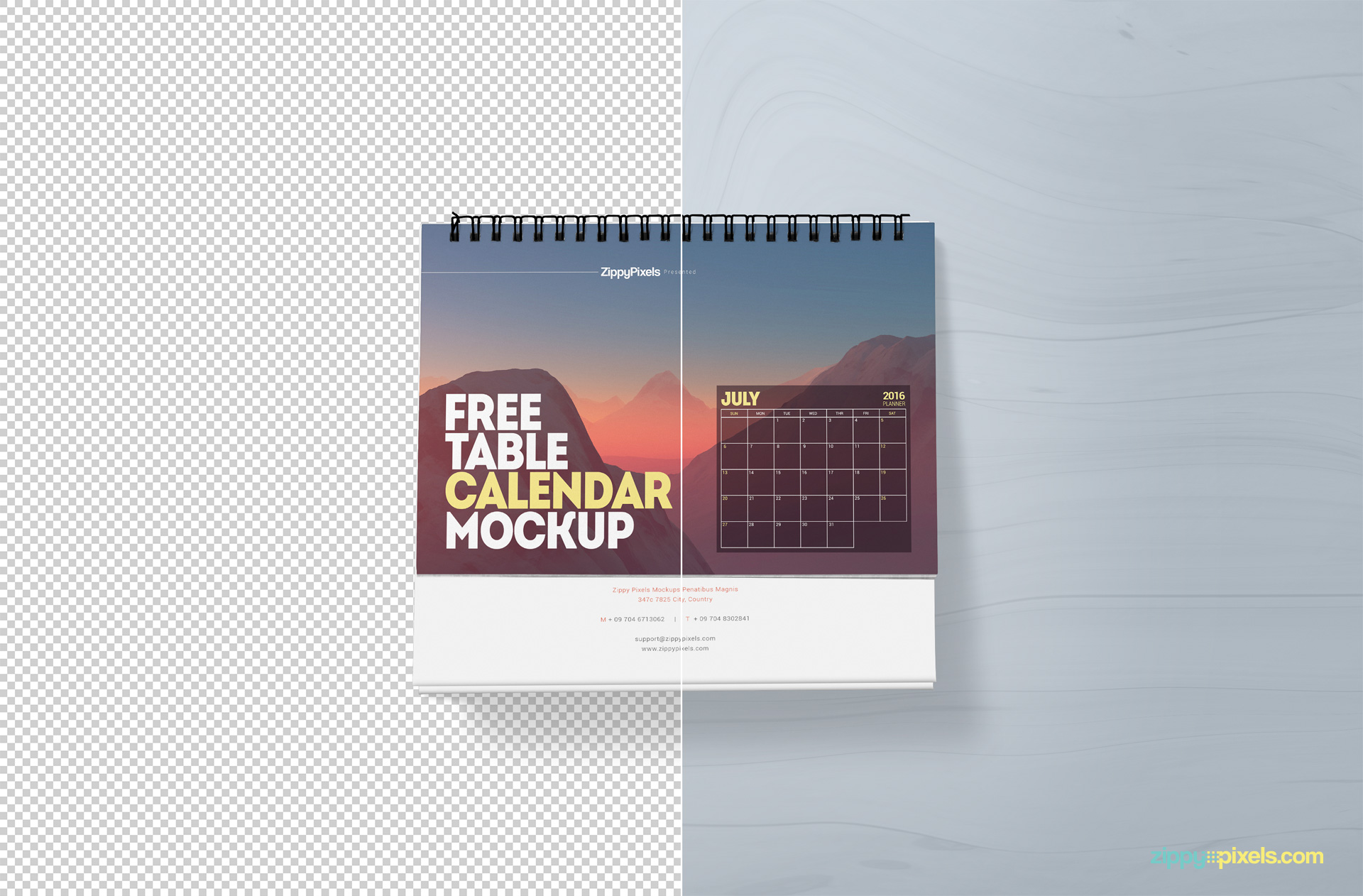 free desk calendar mock-up in psd file format