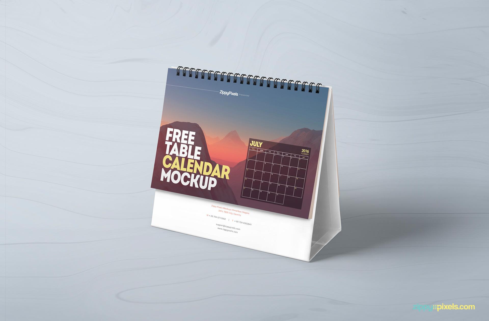 Calendar Design Options : Free table calendar mockup zippypixels
