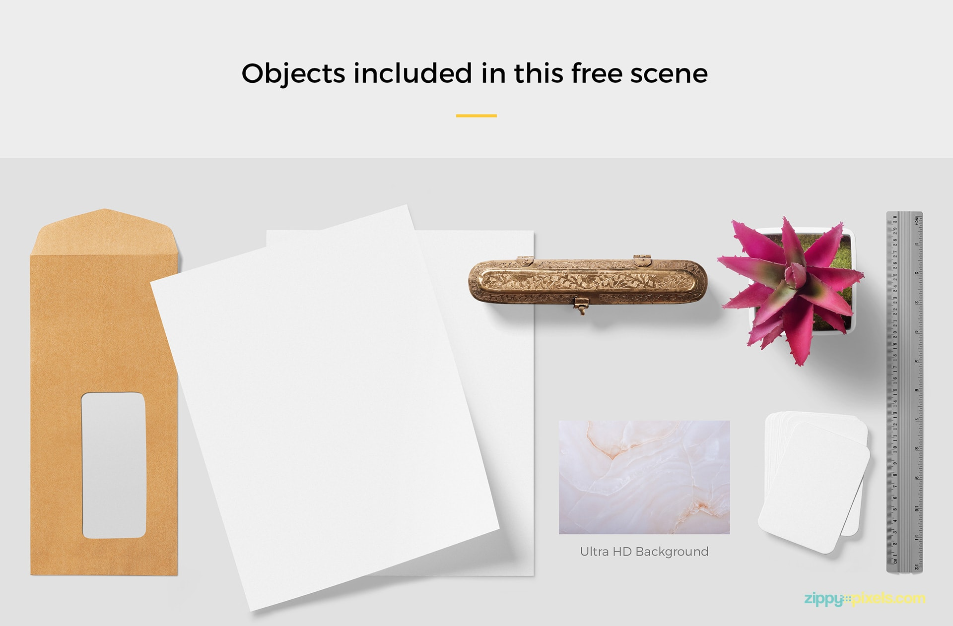 free mockup scene with 6 customizable objects