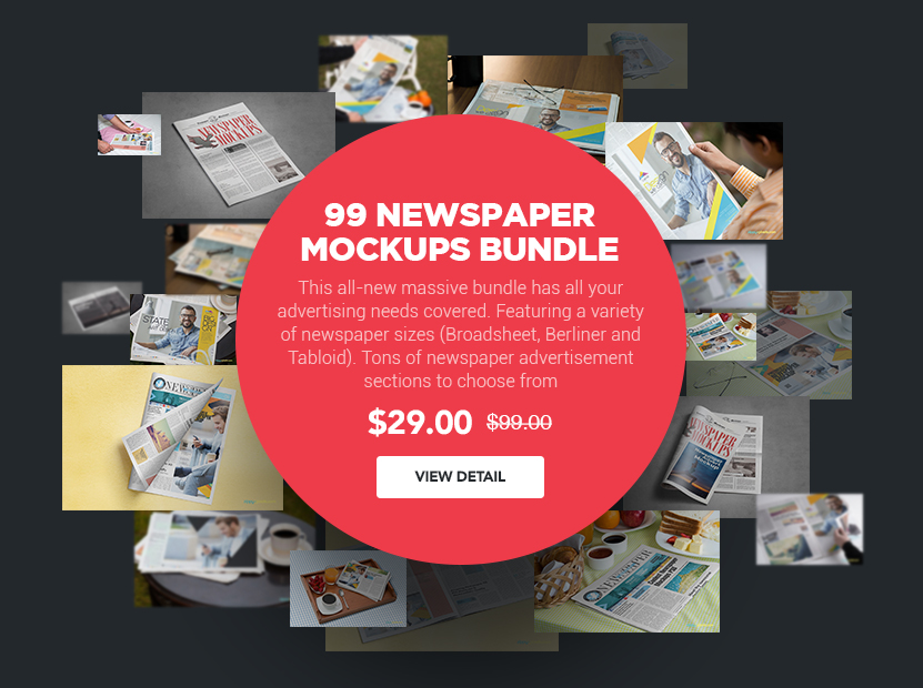 99 NEWSPAPER MOCKUPS BUNDLE