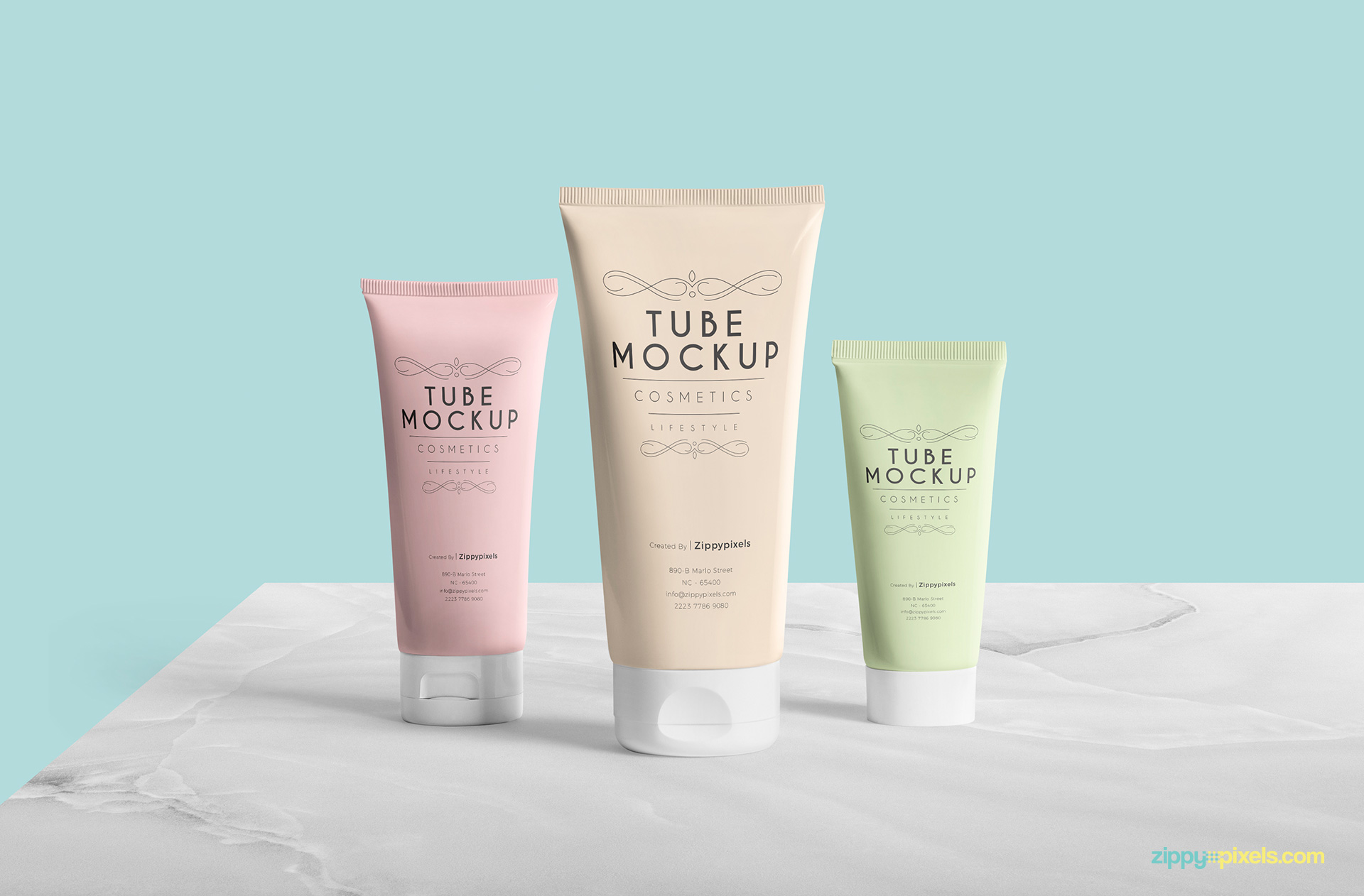 cosmetic tube mockup featuring three tubes on pristine customizable background