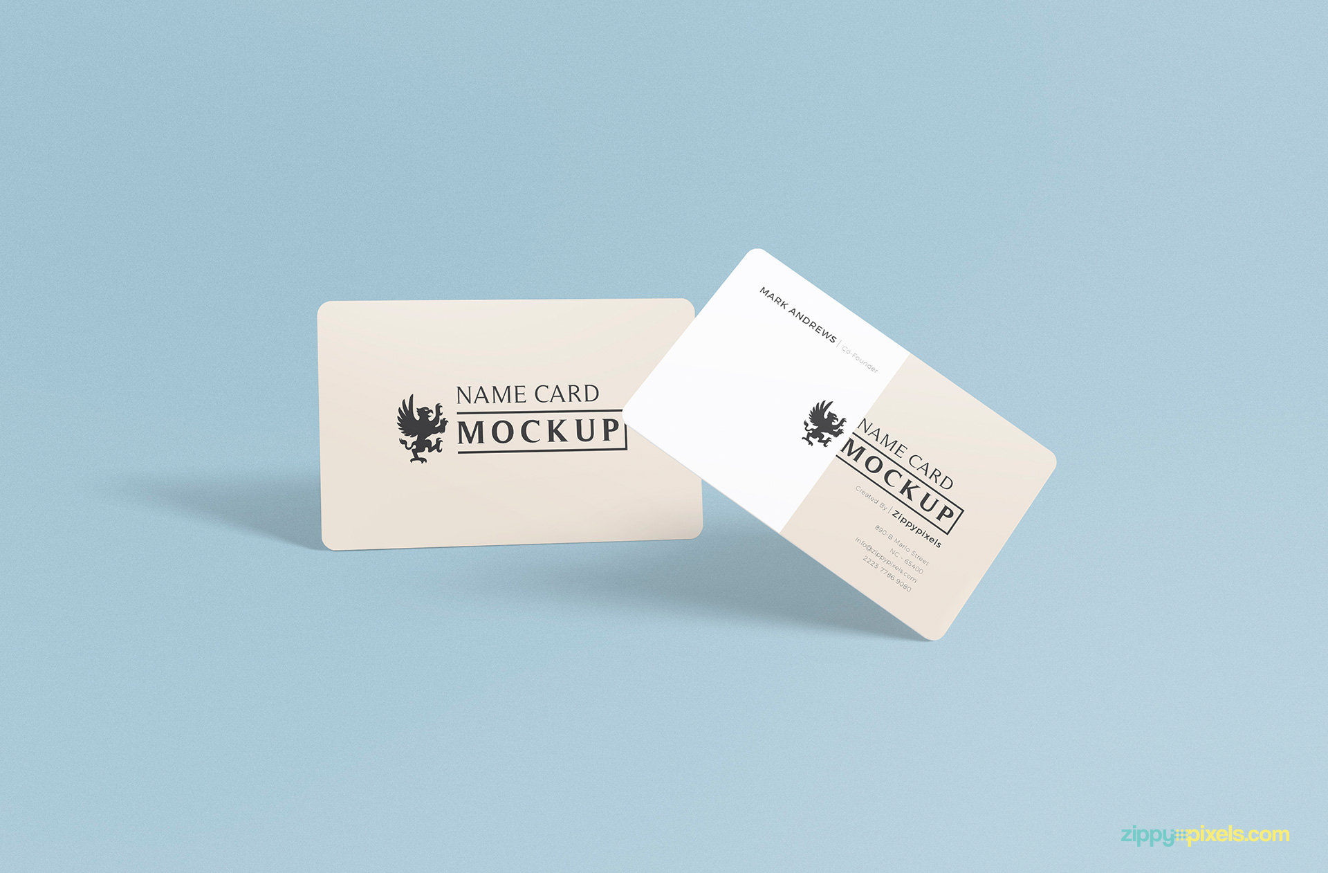 back side and front side of free name card mockup psd
