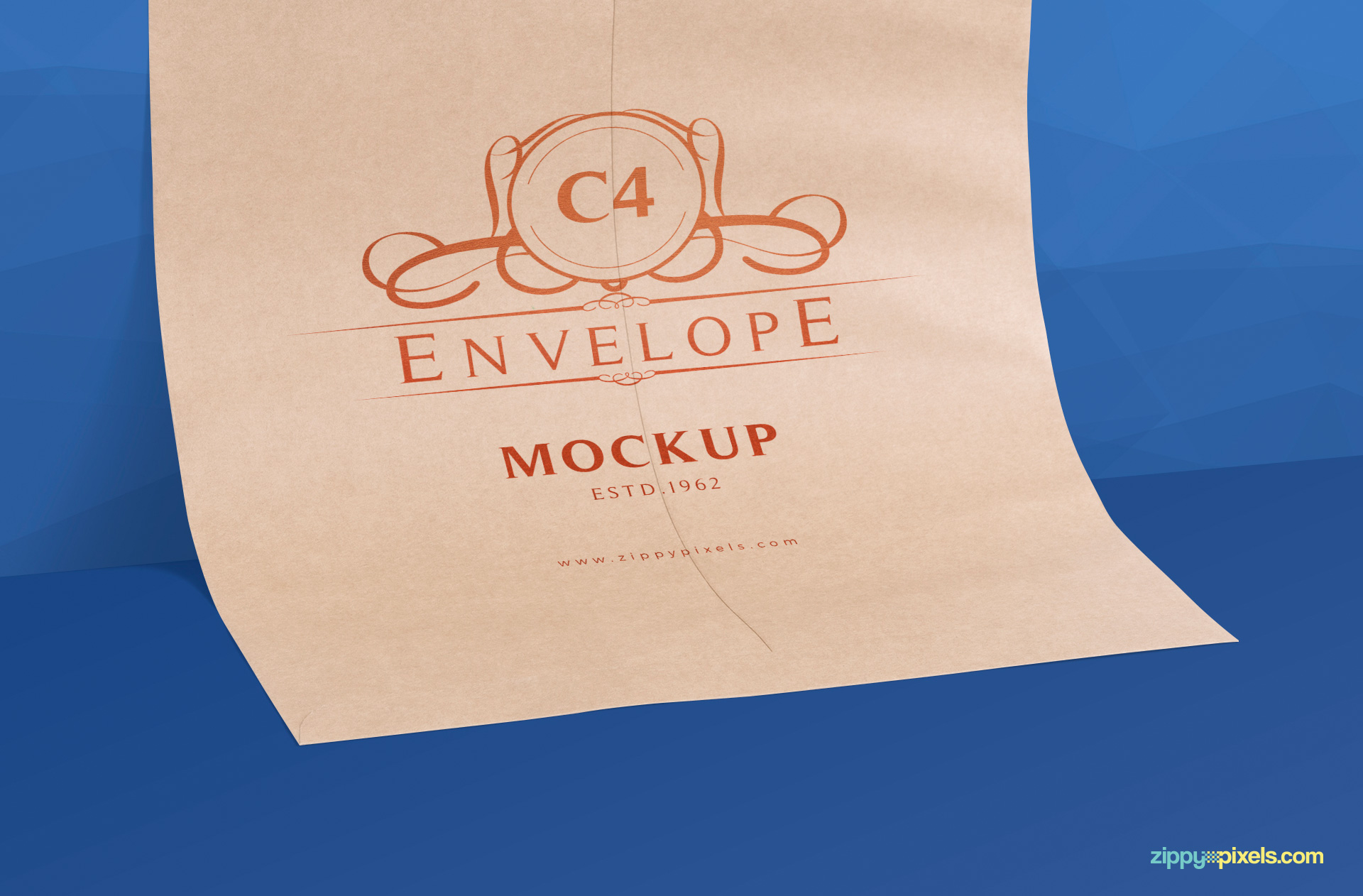 zoom in view of c4 envelope mockup psd free