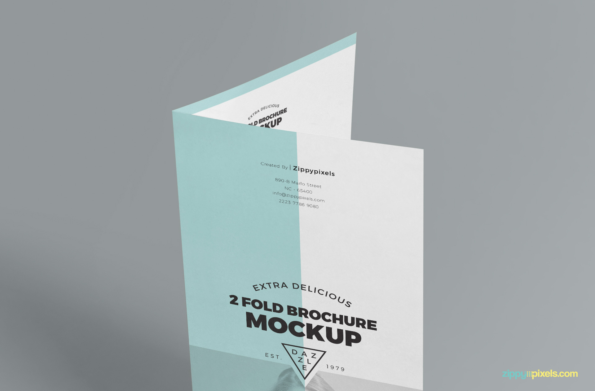 image displaying the focused upper part view of free 2 fold brochure mockup