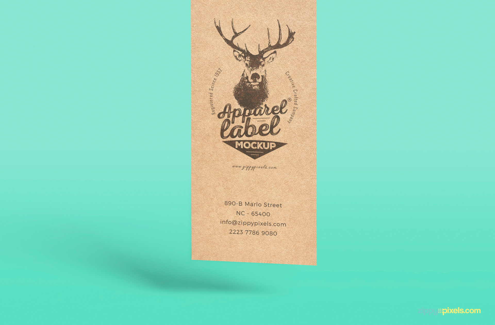 free clothing label mockup with changeable background color and adjustable shadows