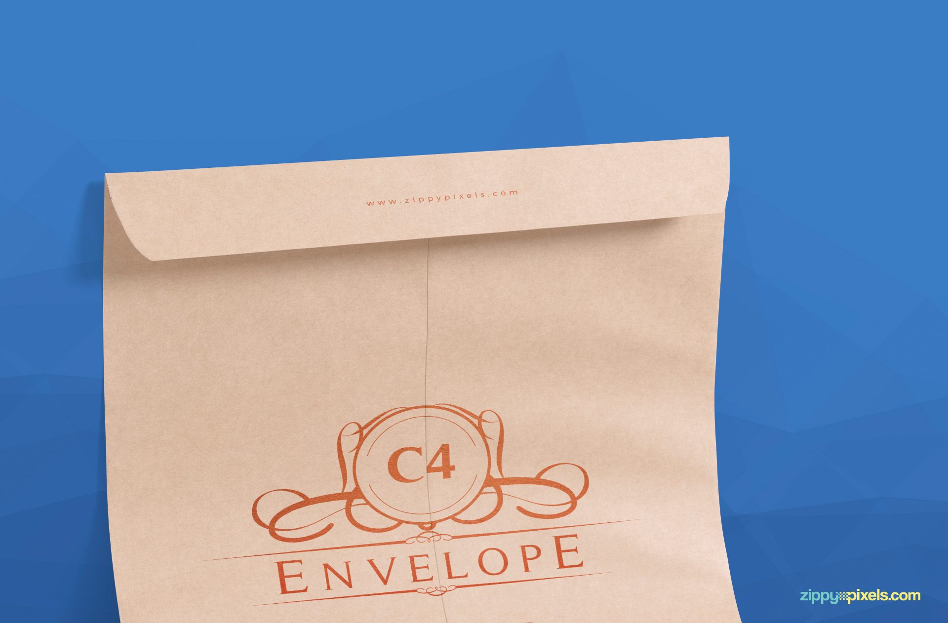 upper portion view of envelope mockup psd