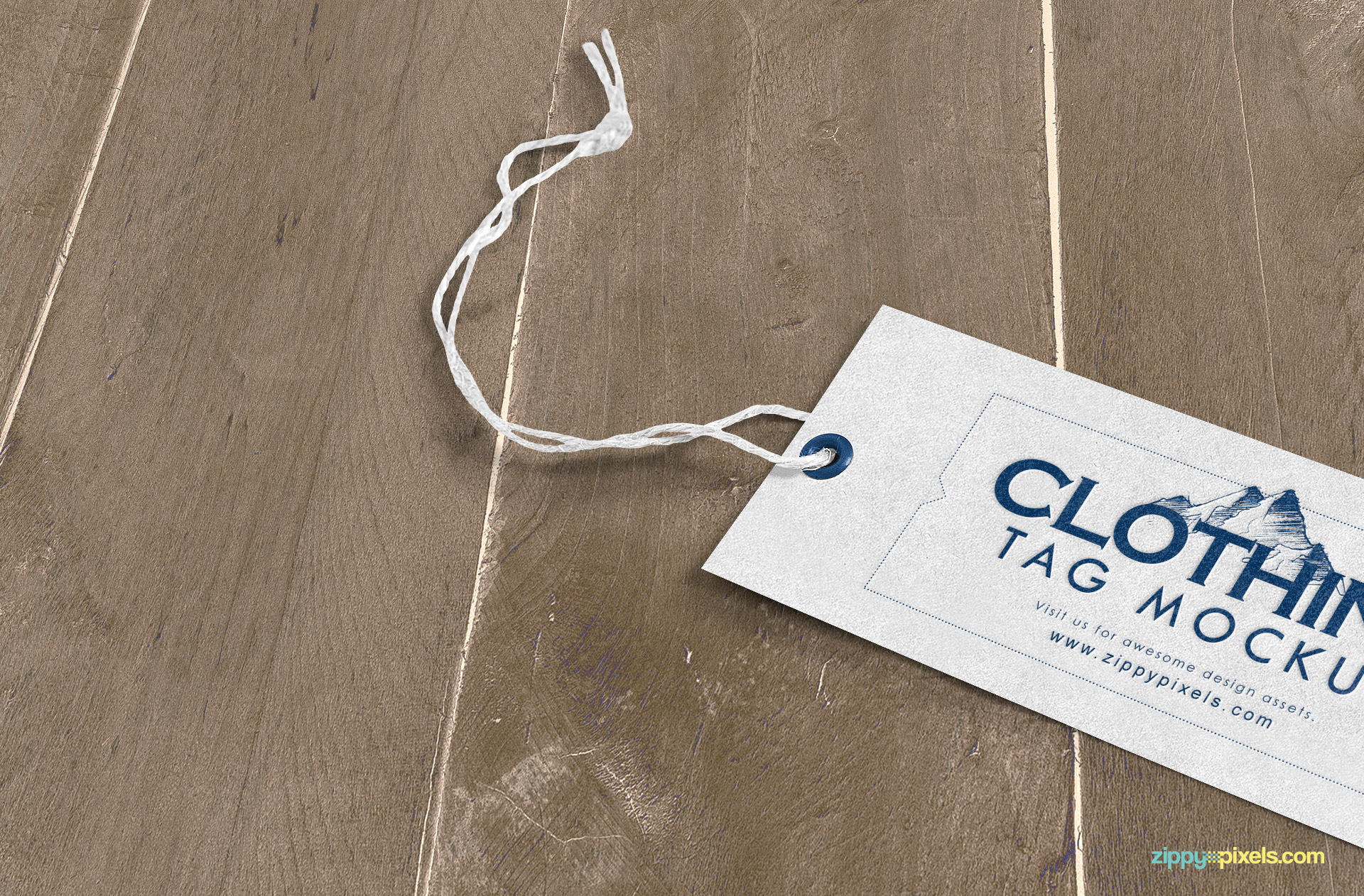 t-shirt tag laying on wooden surface mockup psd file