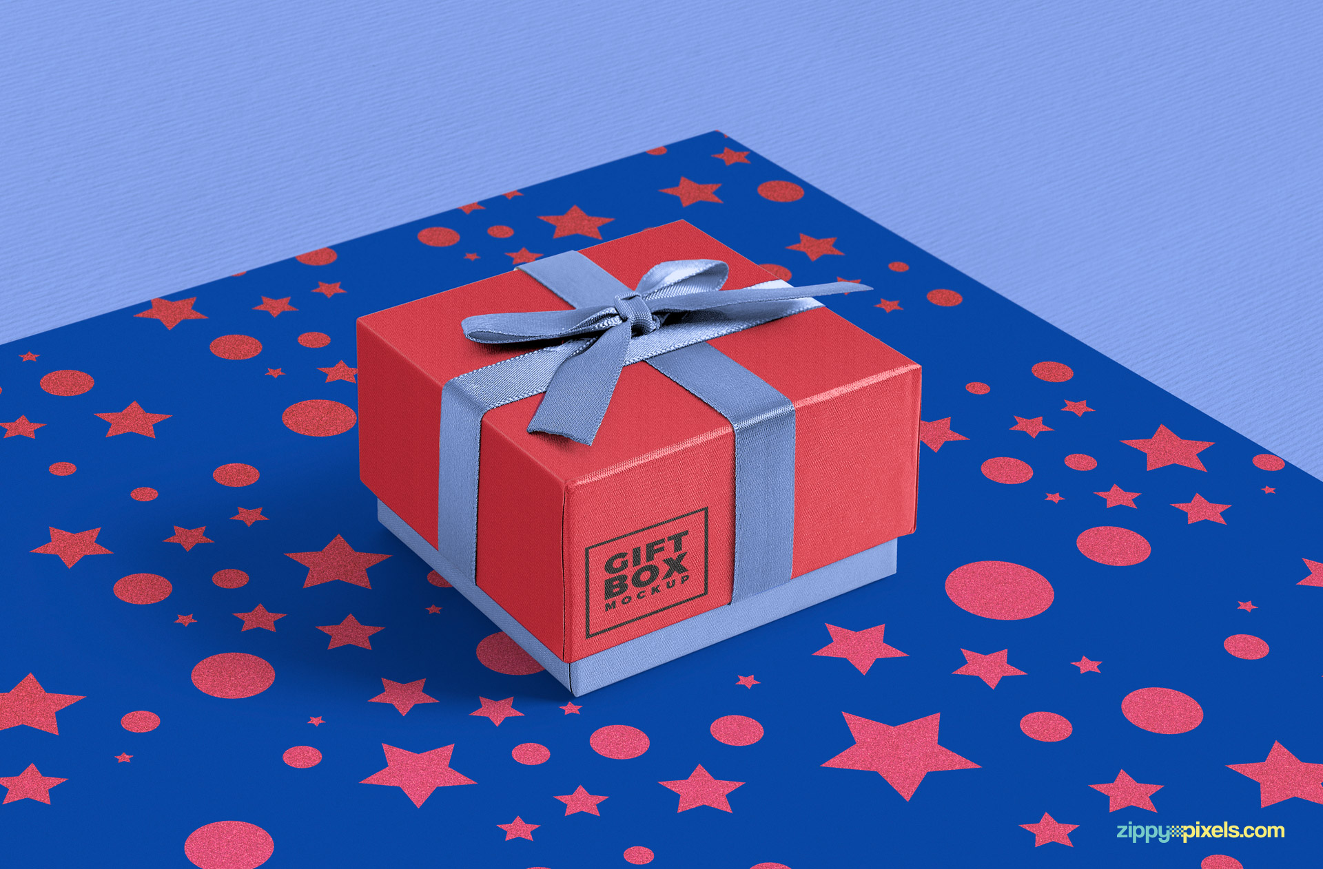 fully customizable free gift box mockup with customizable wrapping paper