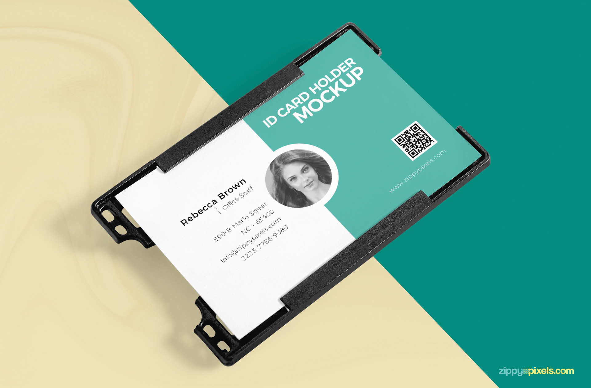Id card badge holder mockup in high res