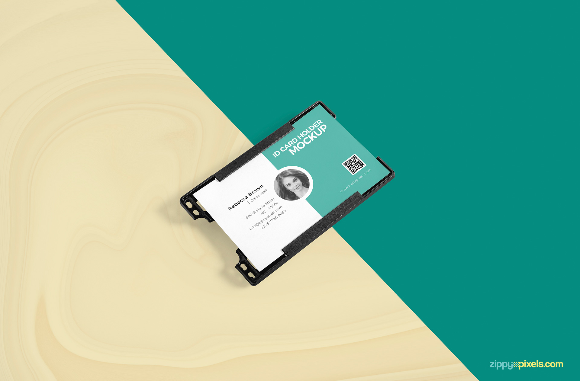 Id card holder mockup laying on customizable background